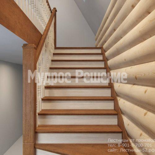 Г-образная лестница из дерева модель 37 вид 3