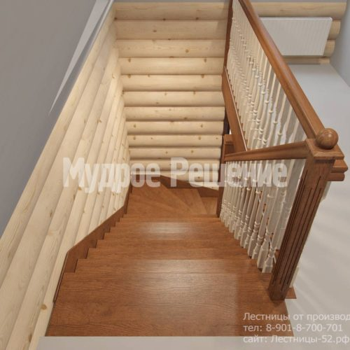 Г-образная лестница из дерева модель 37 вид 4