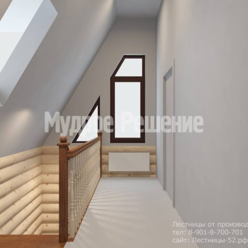 Г-образная лестница из дерева модель 37 вид 5