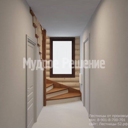 Г-образная лестница из дерева модель 37 вид 6