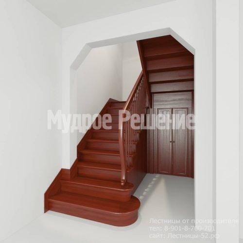Лестница из красного дерева вид 1
