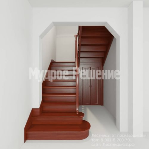 Лестница из красного дерева вид 2