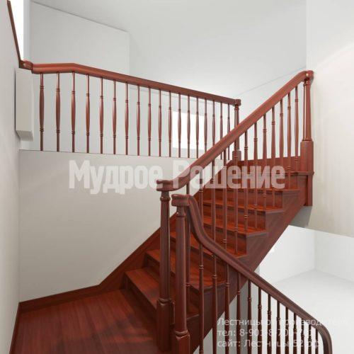Лестница из красного дерева вид 3