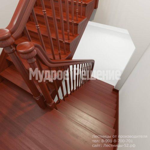 Лестница из красного дерева вид 4