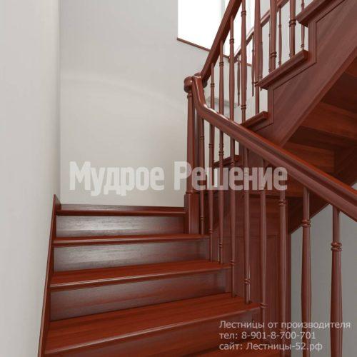 Лестница из красного дерева вид 5