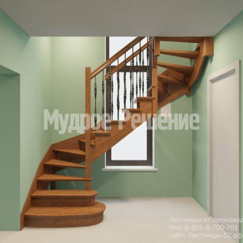 Лестница из дерева винтовая вид 1
