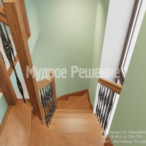 Лестница из дерева винтовая вид 6