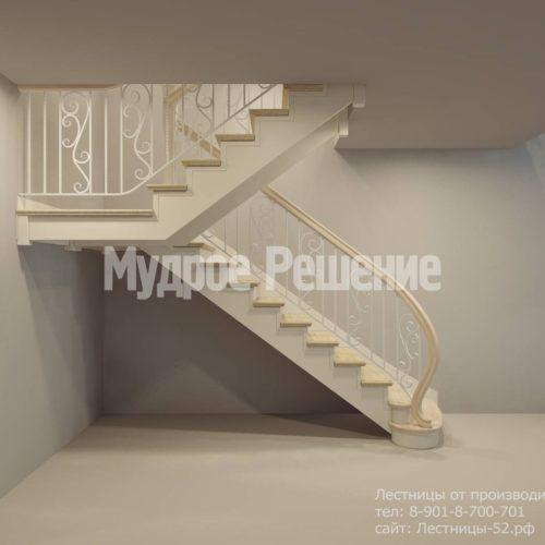 Белая П-образная деревянная лестница вид 2