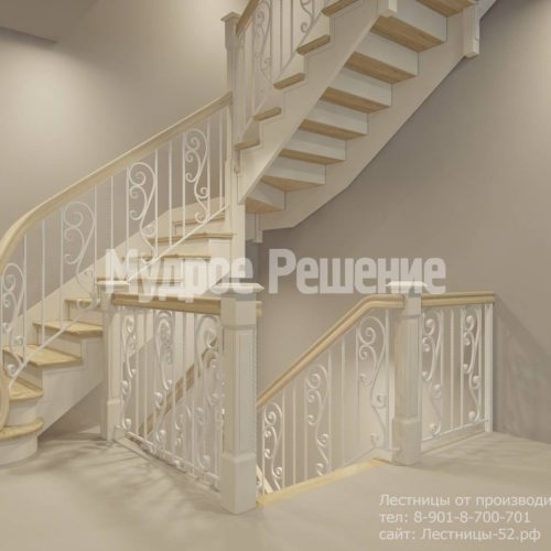 Белая П-образная деревянная лестница вид 4