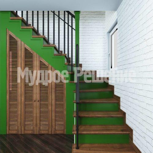 Деревянная лестница модель 41 вид 2