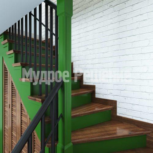 Деревянная лестница модель 41 вид 3