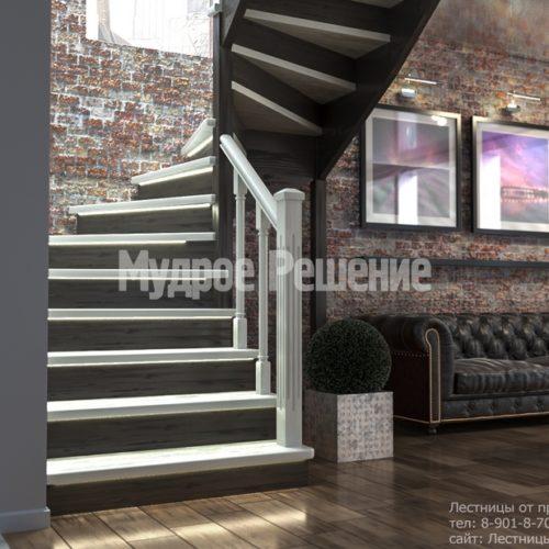 Деревянная лестница с резными перилами вид 2