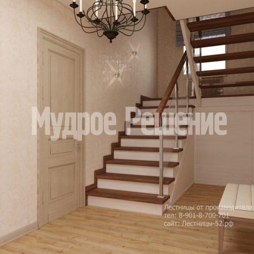 П-образная лестница из дерева на второй этаж вид 1