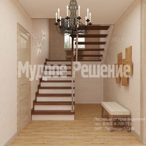 П-образная лестница из дерева на второй этаж вид 2