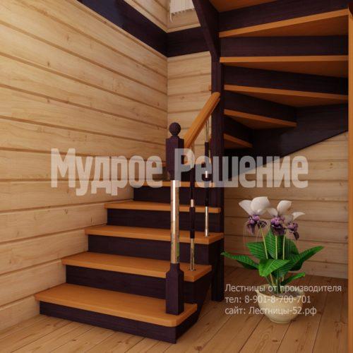 Деревянная лестница на второй этаж на заказ вид 1