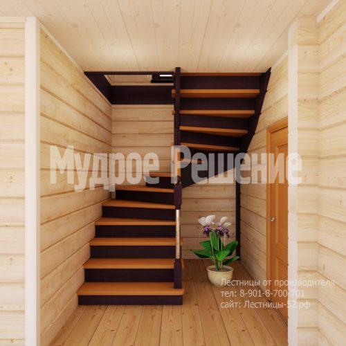 Деревянная лестница на второй этаж на заказ вид 2