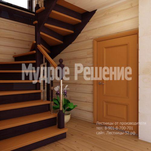 Деревянная лестница на второй этаж на заказ вид 3