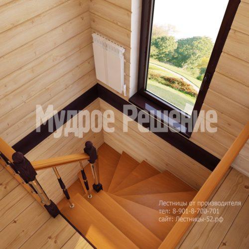 Деревянная лестница на второй этаж на заказ вид 4