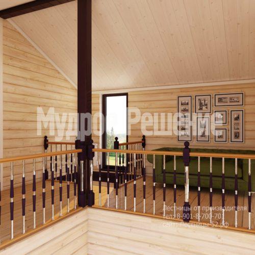 Деревянная лестница на второй этаж на заказ вид 5