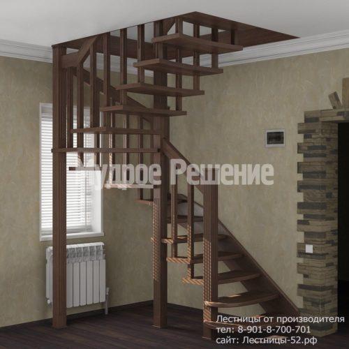 Винтовая лестница из дерева вид 1
