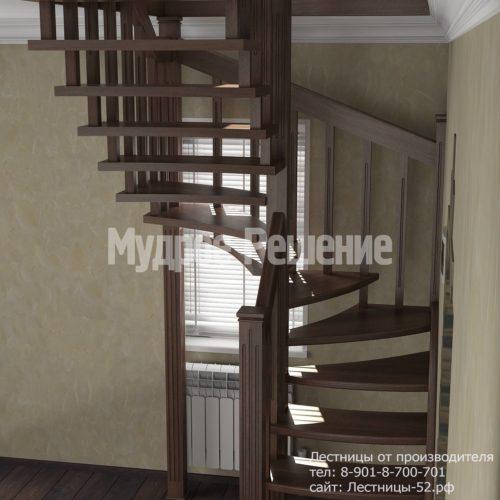 Винтовая лестница из дерева вид 2