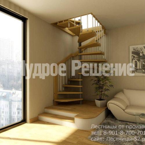 Винтовая лестница с деревянными ступенями вид 1