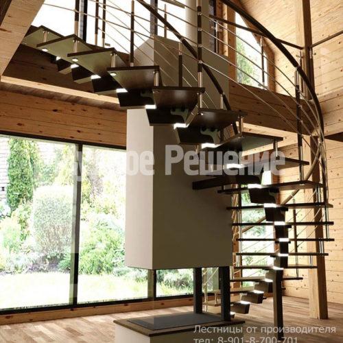 Винтовая лестница на металлокаркасе вид 1