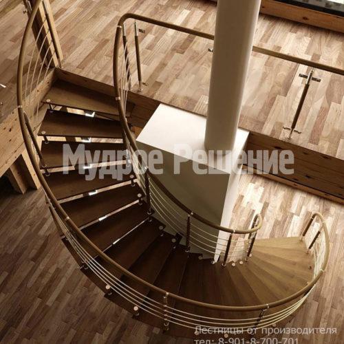 Винтовая лестница на металлокаркасе вид 2