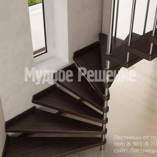 Винтовая лестница на металлокаркасе вид 3