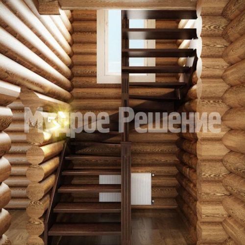Деревянная винтовая лестница вид 1