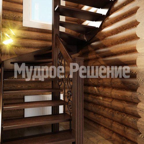 Деревянная винтовая лестница вид 2