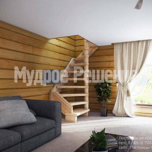 Винтовая лестница из светлого дерева вид 1