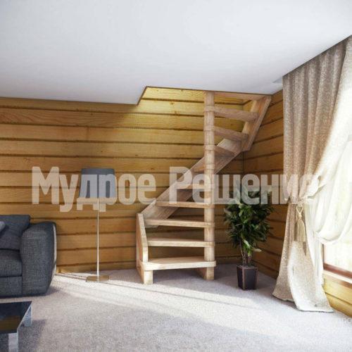 Винтовая лестница из светлого дерева вид 2