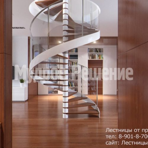 Винтовая лестница на второй этаж вид 2
