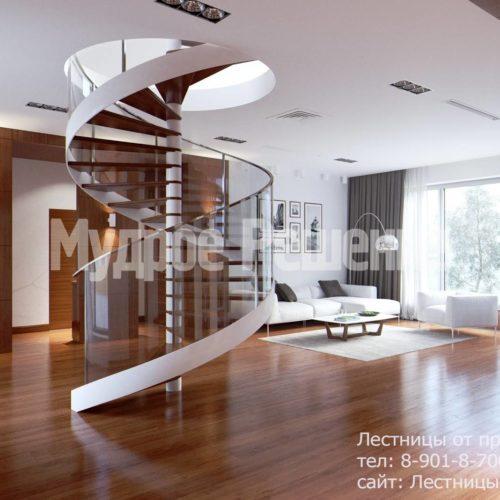 Винтовая лестница на второй этаж вид 3