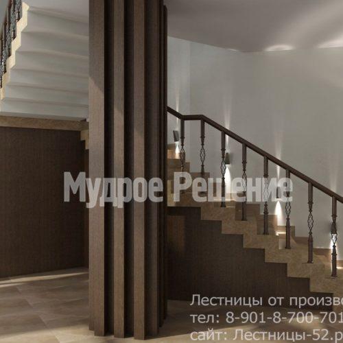 Бетонная лестница на второй этаж на заказ вид 1