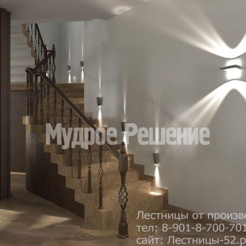 Бетонная лестница на второй этаж на заказ вид 2