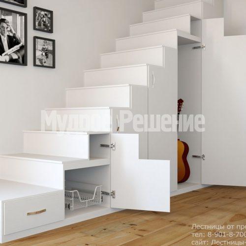 Деревянная лестница белая на заказ вид 2