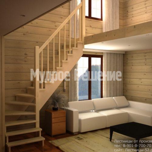 Деревянная лестница П образная светлая