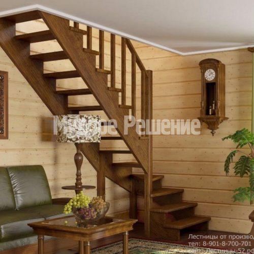 Деревянная лестница Г образная темная
