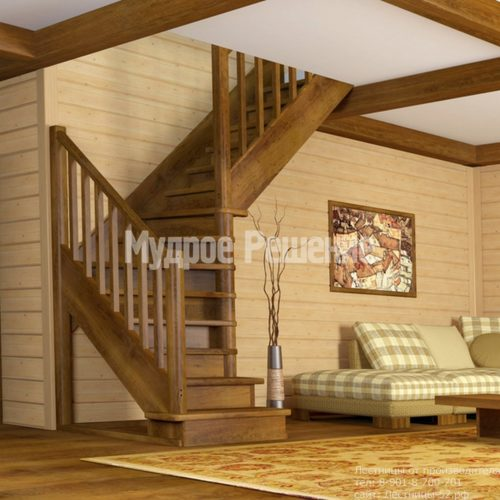Деревянная лестница на второй этаж на заказ изготовление