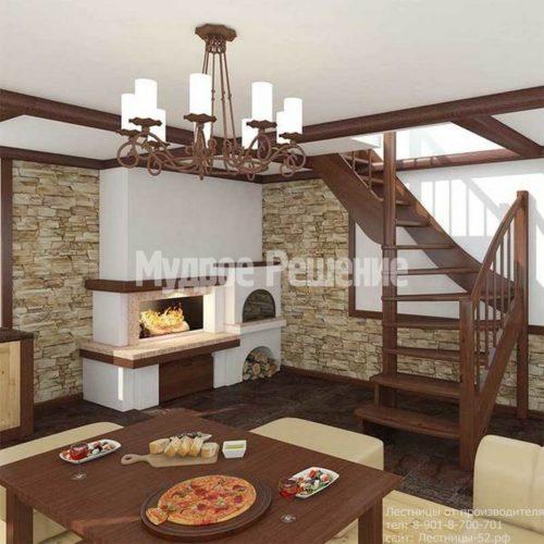 Деревянная лестница на второй этаж на заказ с изгибом