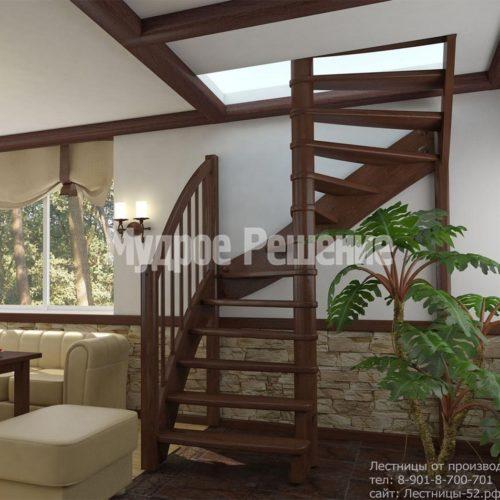 Деревянная лестница на второй этаж на заказ с изгибом вид 2
