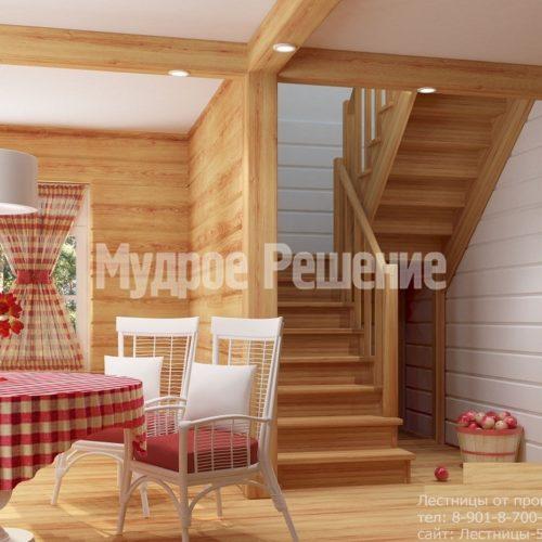 Деревянная лестница на второй этаж на заказ компактная