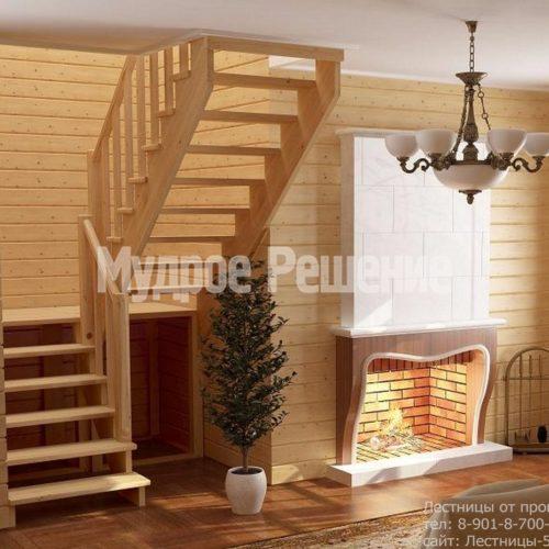 Деревянная лестница на второй этаж на заказ компактная вид 2