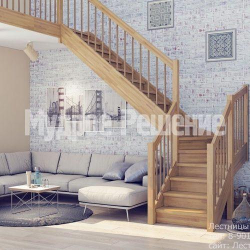 Светлая деревянная лестница на второй этаж на заказ