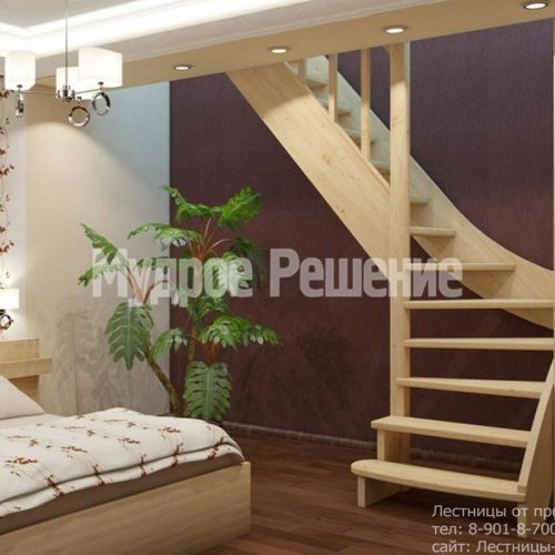 Лестница из дерева на второй этаж на заказ