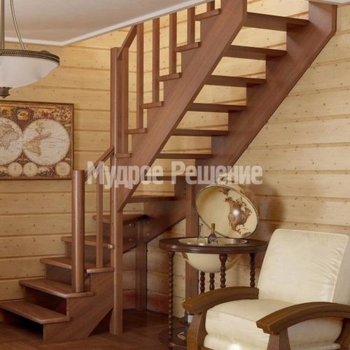 Лестница из дерева на второй этаж на заказ вид 2