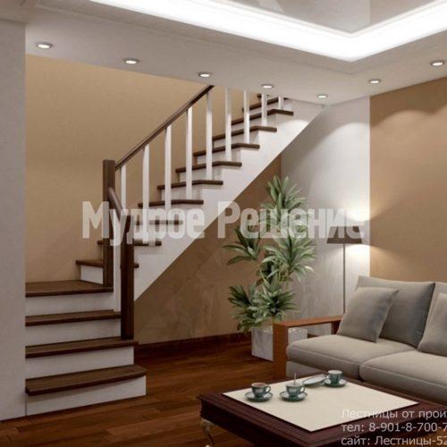 Лестница из дерева на второй этаж на заказ вид 3