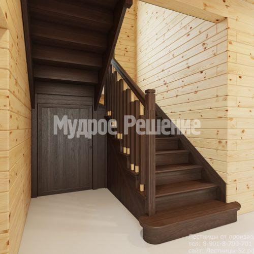 Лестница на втором этаже в деревянном доме вид 7